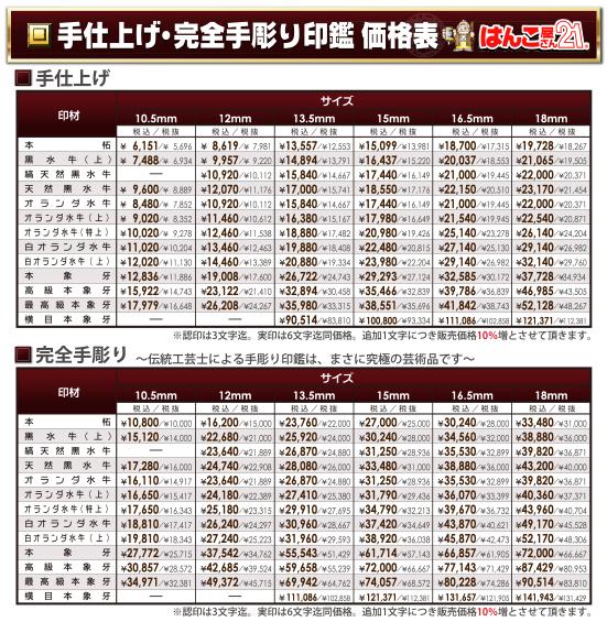 手彫印鑑価格表