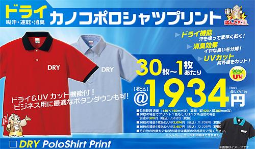 大人気!1,934円ドライカノコポロシャツ!